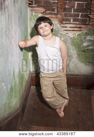 Boy in White Shirt and Khaki Pants