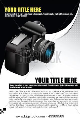 Vector background for poster or brochure with the camera and place for text