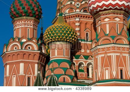 Detail Of The St. Basil Cathedral On Red Square In Moscow, Russia