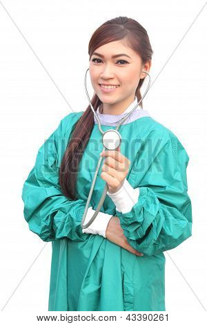 Female Doctor Wearing A Green Scrubs And Stethoscope