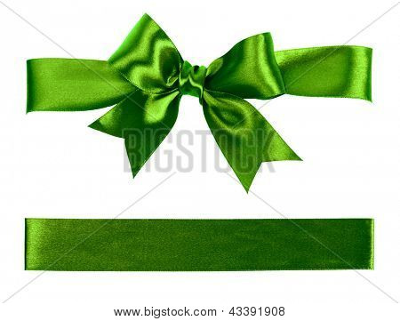 big green bow made from silk ribbon