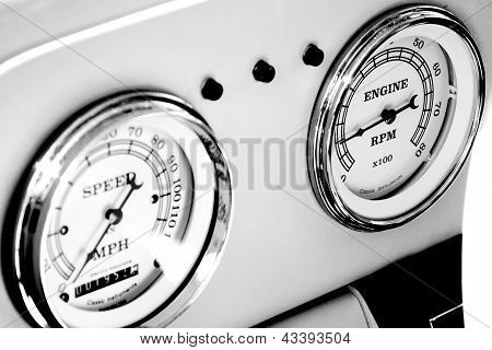 Odometer And Tachometer Of An Antique Car
