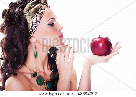 Beautiful Oriental Woman With Red Apple - Organic Natural Meal