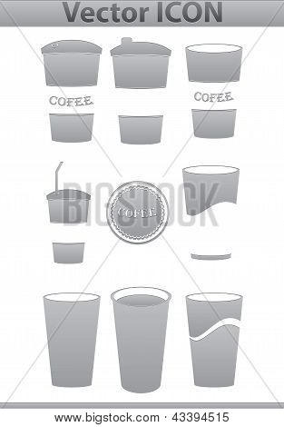 Vector brown coffee icons set. Paper Cup and cafe