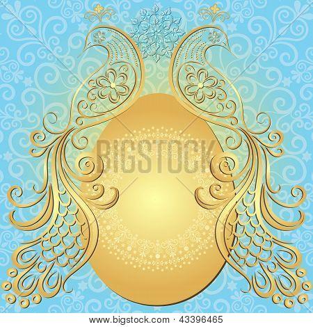 Gold-blue Easter Vintage Frame