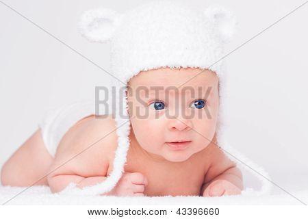 Portrait Of Cute Little Baby In A Funny Hat