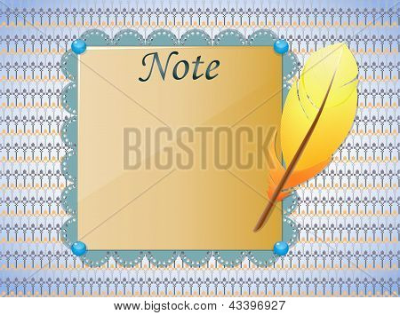 Seamless background with feather and paper.