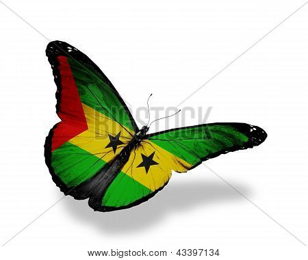 Sao Tome And Principe Flag Butterfly Flying, Isolated On White Background