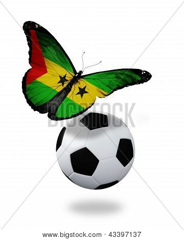 Concept - Butterfly With Sao Tome And Principe Flag Flying Near The Ball, Like Football Team Playing