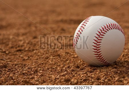 Baseball on the Infield Dirt with room for copy