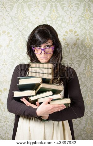 Upset Woman With Books