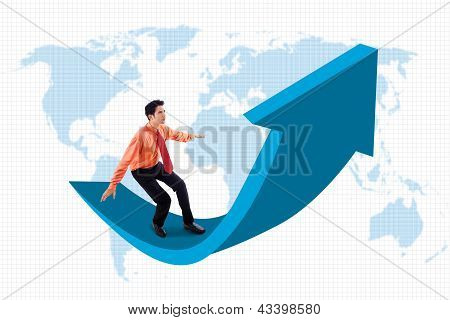 Businessman Stands On Arrow Sign