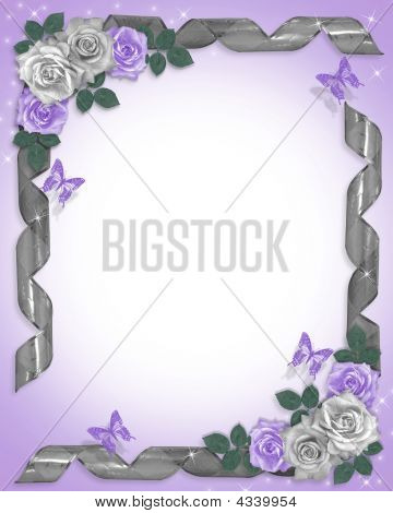 Lavender Roses And Ribbons Wedding Border