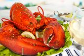 stock photo of claw  - Red lobster on platter on serving table close - JPG
