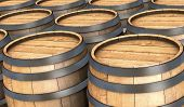 pic of fermentation  - closeup of many wooden barrels  - JPG