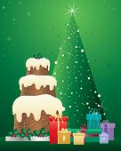 picture of three tier  - an illustration of a christmas cake with three tiers decorated with holly standing beside foil wrapped gifts and a green tree with sparkling lights on a green background - JPG