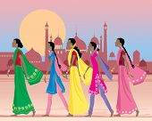 stock photo of salwar  - an illustration of five asian women wearing traditional salwar kameez and sarees walking along a dusty street in india with exotic architecture under a setting sun - JPG