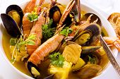 stock photo of scallops  - seafood stew - JPG