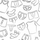 image of string bikini  - Male Underwear Doodle Seamless Pattern On The White - JPG