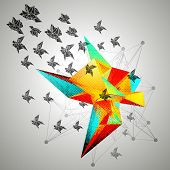 stock photo of tetrahedron  - Triangular 3D Abstract Background vector - JPG