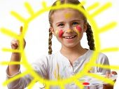 stock photo of finger-painting  - Happy summer - JPG