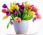 picture of vase flowers  - Spring flowers - JPG