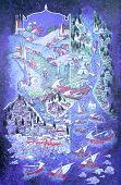 Постер, плакат: Стамбул Январь 15:Maniature картина Босфор в Стамбуле