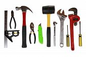 picture of box-end  - Assortment of many different tools isolated on white - JPG