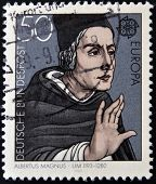 A stamp printed in Germany shows portrait of Albertus Magnus