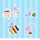 stock photo of rabbit hole  - set of easter rabbits with eggs - JPG
