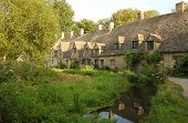 Cotswold village of Bibury and Arlington Row, England