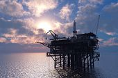 picture of rework  - Petrochemical tower on the background of the sea - JPG
