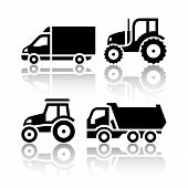 picture of truck farm  - Set of transport icons  - JPG