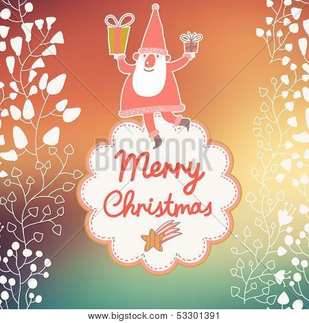 Funny Santa Claus in bright background with textbox in vector
