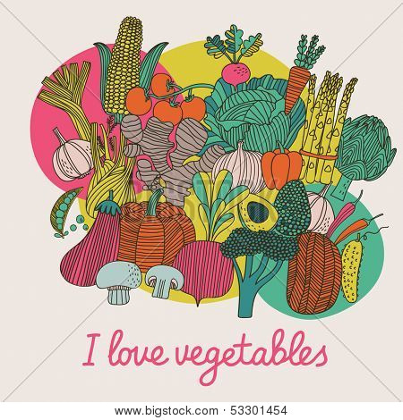 I love vegetables - concept vector composition. Bright tasty design element with tasty food