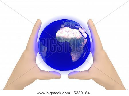 Two Hands With A Earth