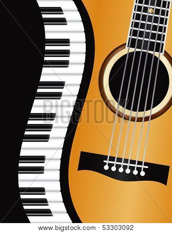 Piano Wavy Border With Guitar Illustration