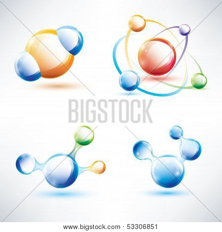Molecule Structure, Abstract Glossy Icons Set, Science And Energy Concept