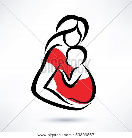 Mother Holding Baby In The Sling, Vector Symbol