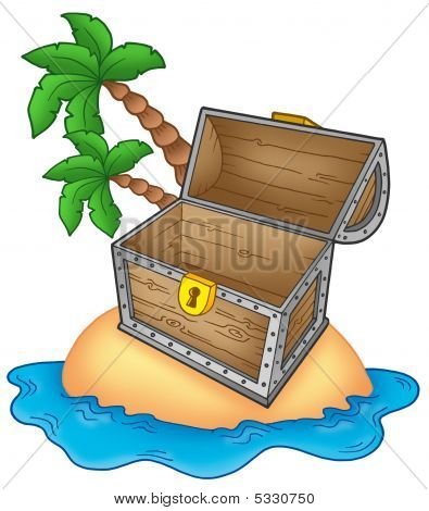 Pirate Island With Open Chest