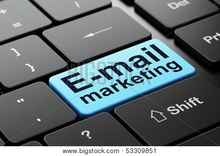 Advertising concept: E-mail Marketing on computer keyboard