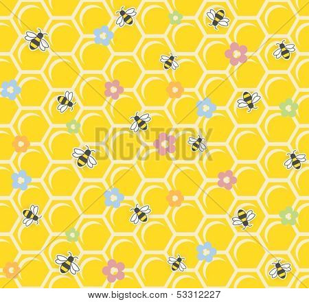 Bee on honeycomb. Seamless pattern. vector illustration EPS10. Transparent objects and opacity masks used for shadows and lights drawing
