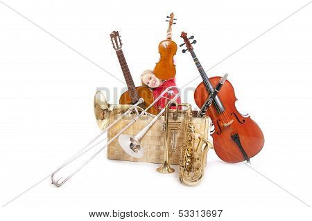 Young Girl With Musical Instruments In Box