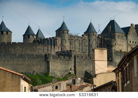 Medieval Carcassone town view, France