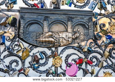 John of Nepomuk ironwork detail at Charles bridge