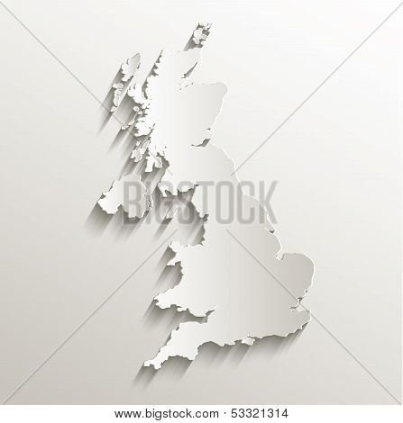 United Kingdom map card paper 3D natural raster