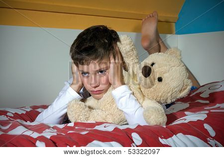 Boy Angry On Bed