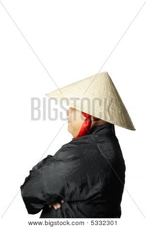 Vietnamese Man With Hat Side Profile