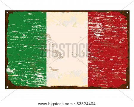 Italian Flag Enamel Sign