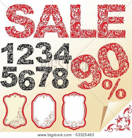 Word Sale, Numerals And Letters Are Made Of Floral Ornament. Set Of Shop Labels.